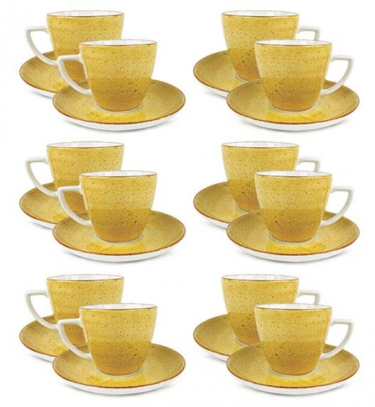 LUBIANA BOSS 6630J Filiżanka 350 ml + spodek / 12 os / 24 el / żółty / porcelana ręcznie malowana