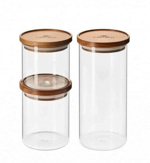GERLACH COUNTRY Zestaw 3 szklanych pojemników na żywność / akacjowa pokrywka