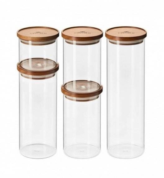 GERLACH COUNTRY Zestaw 5 szklanych pojemników na żywność / akacjowa pokrywka