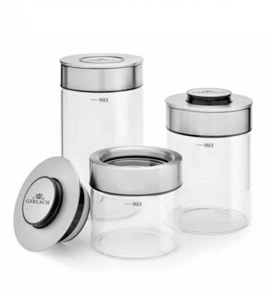GERLACH AMBIENTE Zestaw 3 szklanych pojemników na żywność / hermetyczna pokrywka
