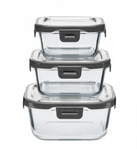 GERLACH SMART TO GO Zestaw 3 szklanych pojemników na żywność / 330 ml, 500 ml, 850 ml
