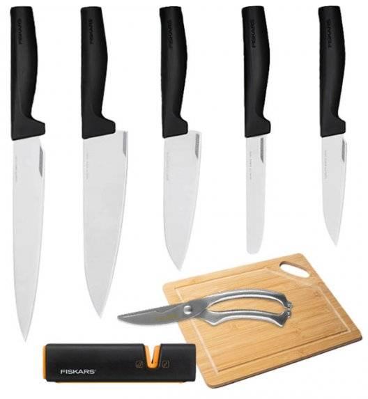 FISKARS HARD EDGE Komplet 5 noży luzem + ostrzałka EDGE + nożyce + deska / lita stal nierdzewna
