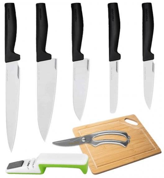 FISKARS HARD EDGE Komplet 5 noży luzem + ostrzałka biało-zielona + nożyce + deska / lita stal nierdzewna