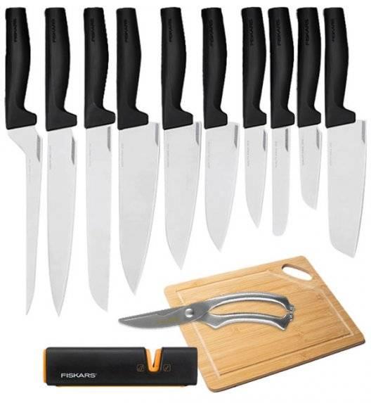 FISKARS HARD EDGE Komplet 10 noży luzem + ostrzałka Edge + nożyce + deska / lita stal nierdzewna