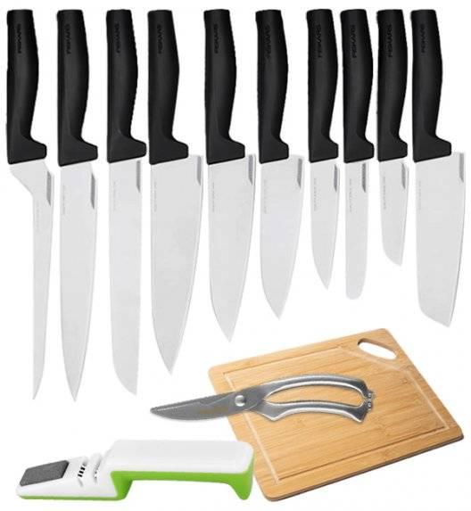 FISKARS HARD EDGE Komplet 10 noży luzem + ostrzałka biało-zielona + nożyce + deska / lita stal nierdzewna