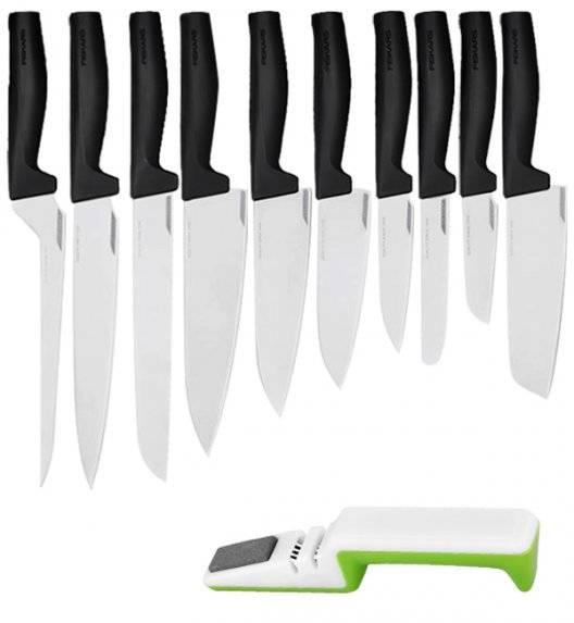 FISKARS HARD EDGE Komplet 10 noży luzem + ostrzałka biało-zielona / lita stal nierdzewna