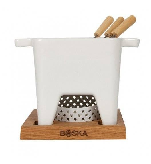 BOSKA BIANCO L Zestaw fondue 600 ml / ceramika + drewno dębowe / LENA