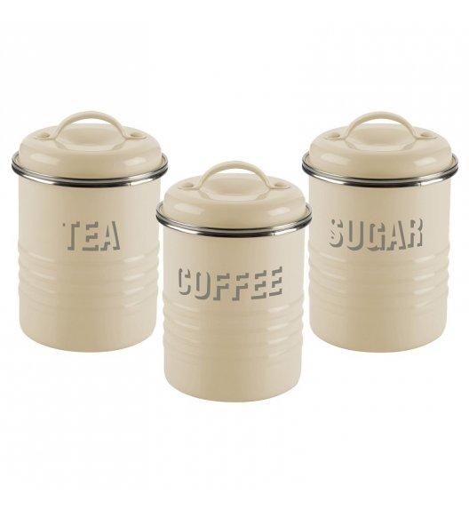 WYPRZEDAŻ! TYPHOON VINTAGE KITCHEN Zestaw 3 pojemników na kawę, herbatę i cukier / kremowe