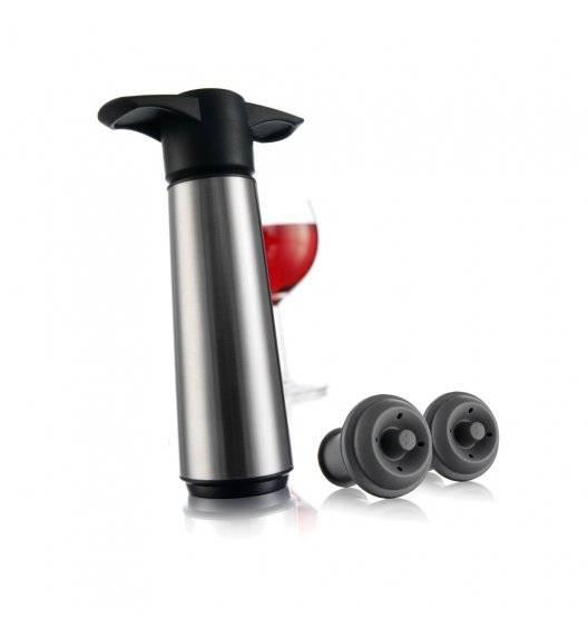 VACU VIN Pompka do wina stalowa + 2 korki czarna