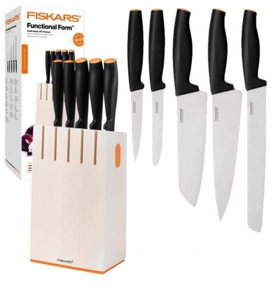 FISKARS FUNCTIONAL FORM 1014209 Komplet 5 noży kuchennych w białym bloku drewnianym / stal nierdzewna / rękojeść Softgrip®