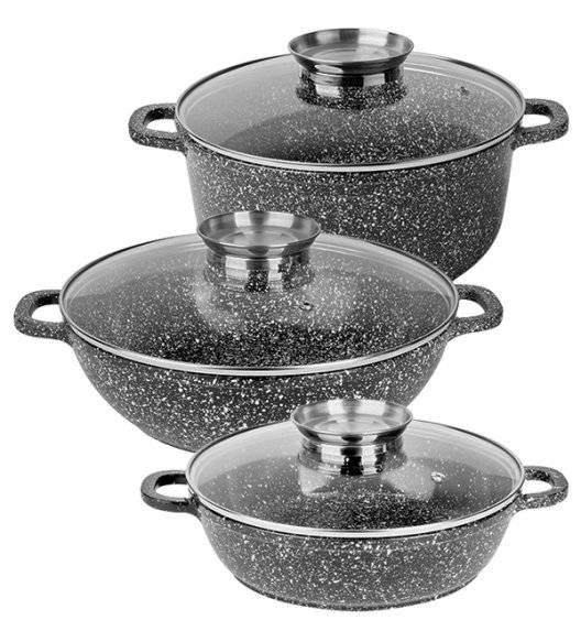 KÖNIGHOFFER KINGSTONE Zestaw garnków ceramicznych z aromatyzerem 5,2 L + 3 L + 4,5 L / indukcja