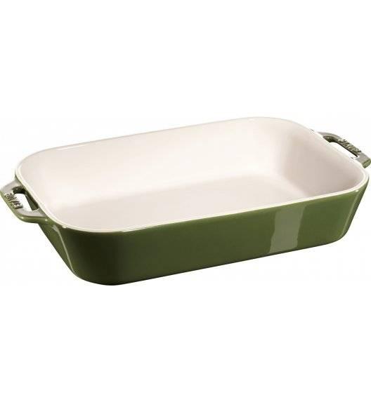 WYPRZEDAŻ! STAUB COOKING Prostokątny półmisek ceramiczny / 4,5 l / 34 x 24 cm / zielony / ceramika