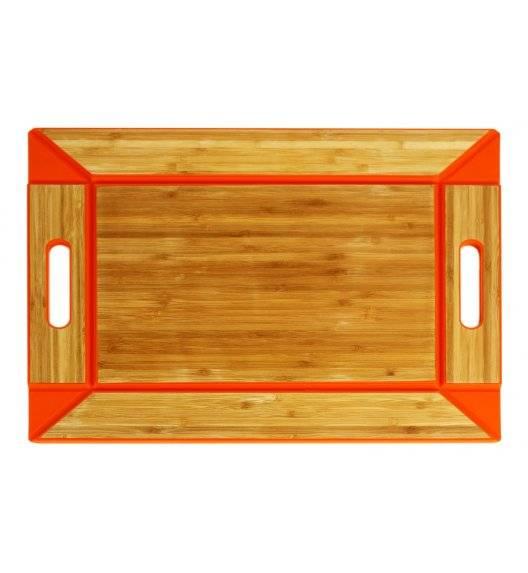 FREEFORM Dwustronna taca do serwowania pomarańczowa / drewno bambusowe+silikon