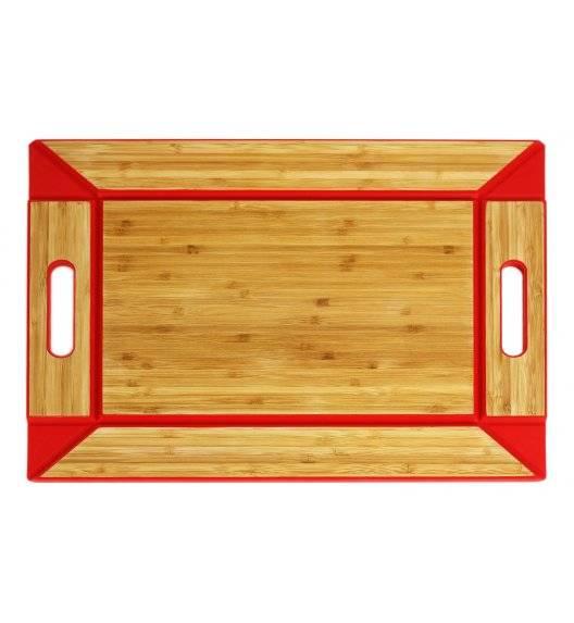 FREEFORM Dwustronna taca do serwowania czerwona  / drewno bambusowe+silikon