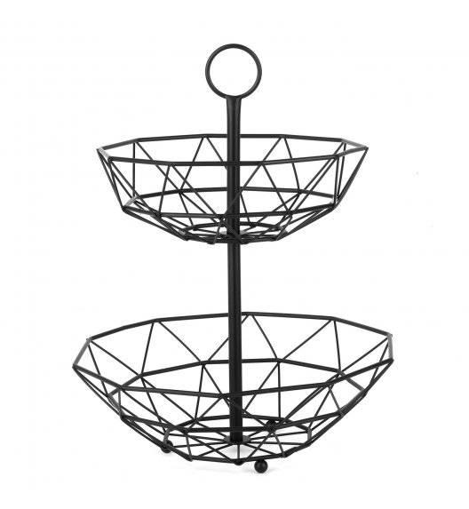 TADAR Dwupoziomowy koszyk na owoce / metalowy, czarny