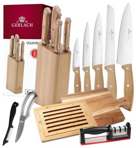 GERLACH COUNTRY Komplet 5 noży w bloku + deska akacjowa + deska bambusowa + ostrzałka + nożyce + obierak