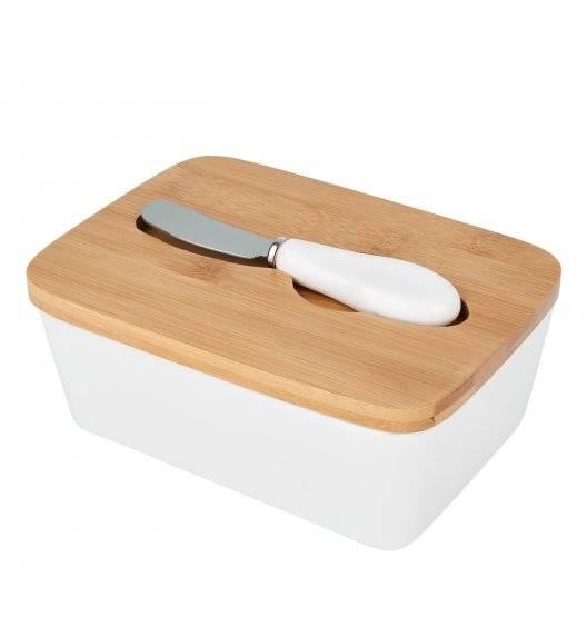 TADAR Ceramiczna maselnica z bambusową pokrywą + nożyk / biała