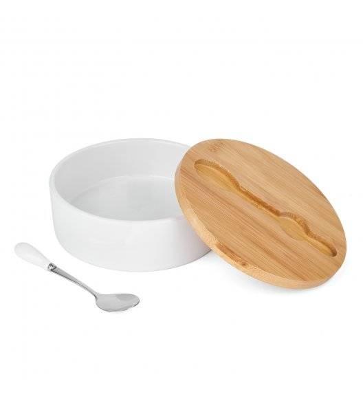 TADAR Ceramiczna cukiernica z bambusową pokrywą + łyżeczka / biała / 400 ml
