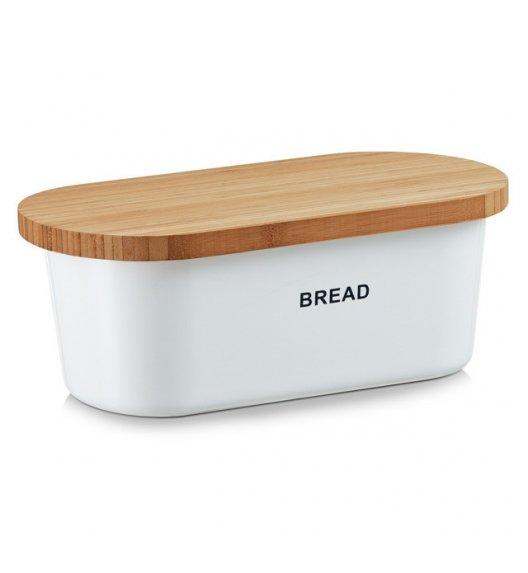 WYPRZEDAŻ! ZELLER BREAD Chlebak z deską do krojenia 2w1 / 36 cm / biały / tworzywo sztuczne