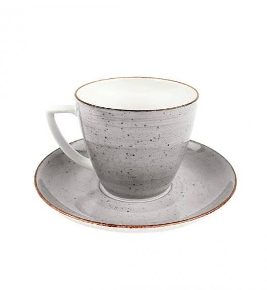 LUBIANA BOSS 6630Z Filiżanka 350 ml + spodek / szary / porcelana ręcznie malowana