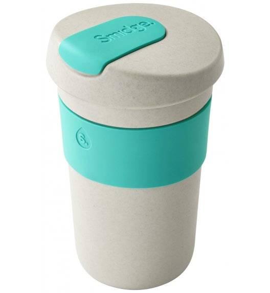 SMIDGE Kubek z przykrywką 400 ml Sand - Aqua / turkusowy / biodegradowalny
