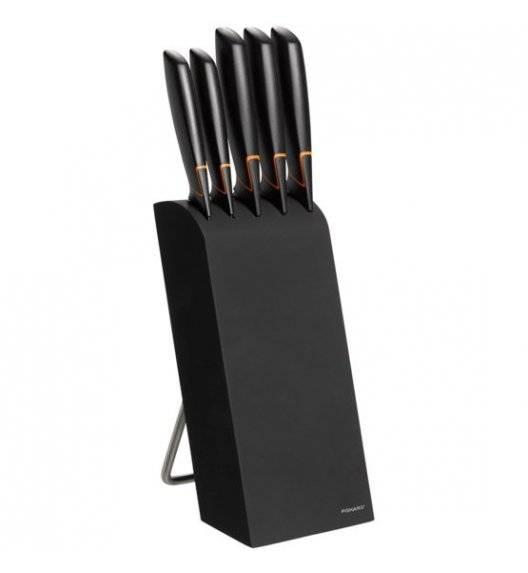 FISKARS EDGE 1003099 Zestaw 5 noży kuchennych w bloku czarnym / stal 420J2 / czarne ostrza+ deska akacjowa +deska bambusowa +ostrzałka + nożyce + obierak