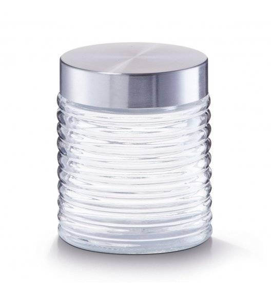 ZELLER Rowkowany pojemnik do przechowywania 650 ml ze stalową pokrywką / transparentny / szkło