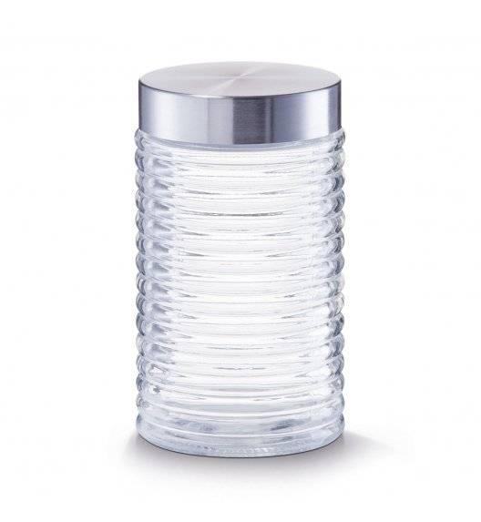 ZELLER Rowkowany pojemnik do przechowywania 1000 ml ze stalową pokrywką / transparentny / szkło