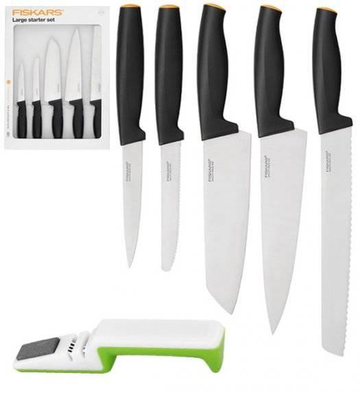 FISKARS FUNCTIONAL FORM 1014201 Komplet 5 noży kuchennych LARGE STARTER SET w pudełku / stal nierdzewna + ostrzałka biało-zielona