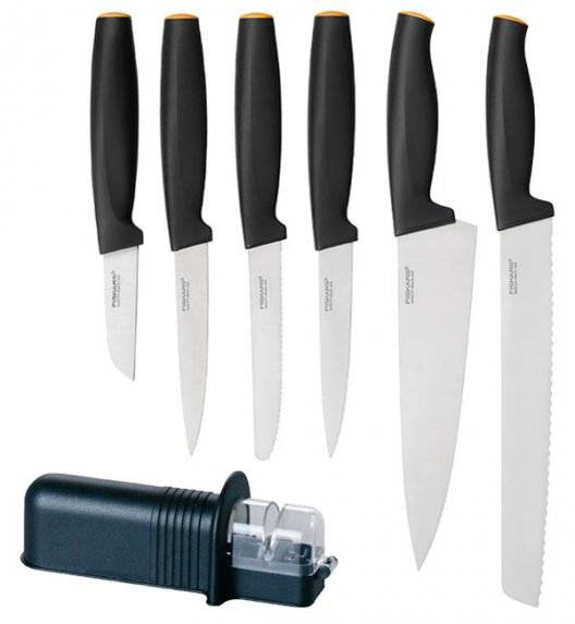 FISKARS FUNCTIONAL FORM 1014207+1014274 Zestaw 6 noży (do obierania+ kuchenne) / stal nierdzewna + ostrzałka uniwersalna