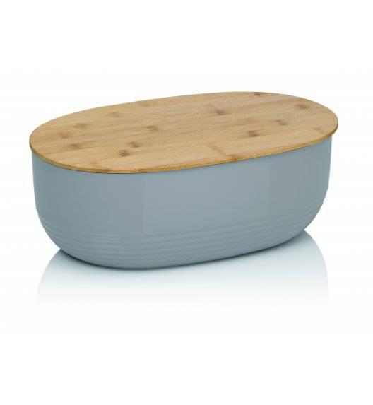 KELA NAMUR Chlebak z pokrywą 37,5 cm szary / tworzywo + drewno bambusowe