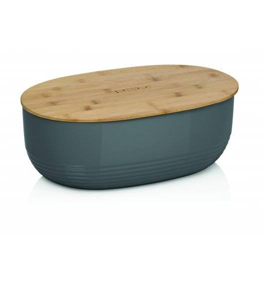 KELA NAMUR Chlebak z pokrywą 37,5 cm ciemnoszary / tworzywo + drewno bambusowe