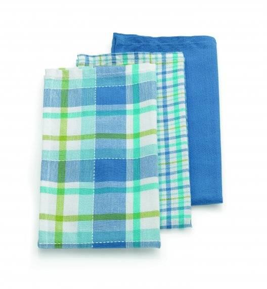 KELA PASADO Zestaw 3 ściereczek bawełnianych 65 x 45 cm / niebieskie