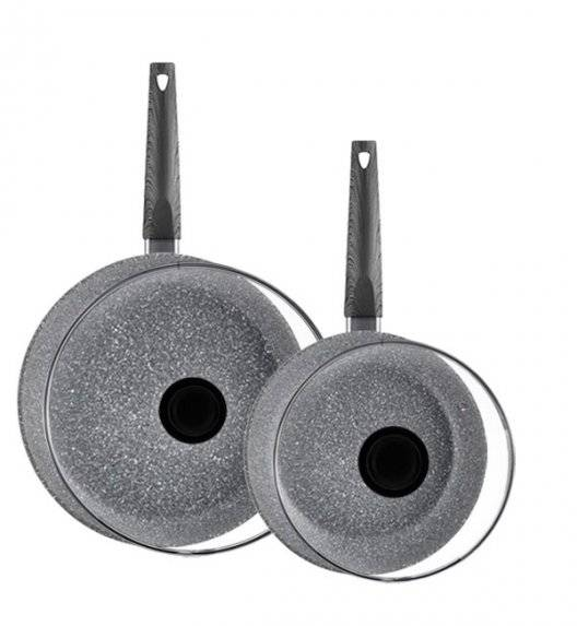 AMBITION LOFT Komplet 2 patelni 20, 28 cm + pokrywki / powłoka Qualum Basic Stone / indukcja