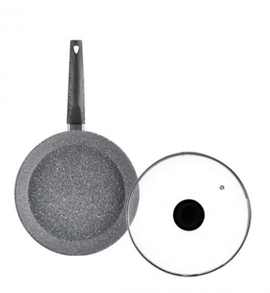 AMBITION LOFT Komplet Patelnia 24 cm + pokrywka / powłoka Qualum Basic Stone / indukcja