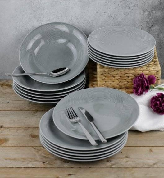 LUBIANA ETO K100 Serwis obiadowy szary 18 el / 6 osób / porcelana ręcznie malowana