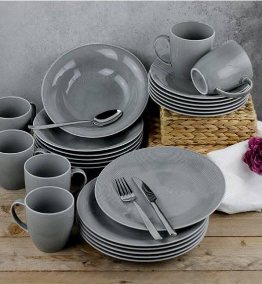 LUBIANA ETO K100 Serwis obiadowy z kubkiem / szary / 24 el dla 6 osób / porcelana ręcznie malowana