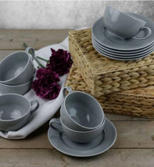 LUBIANA ETO K100 Zestaw filiżanka 250 ml + spodek / 12 el dla 6 osób / szary / porcelana ręcznie malowana