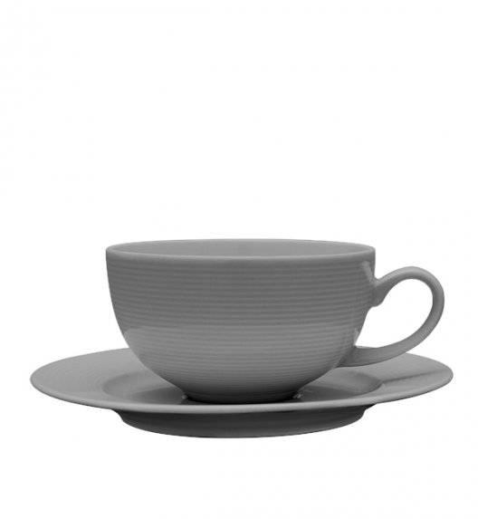 LUBIANA ETO K100 Filiżanka 250 ml + spodek / szary / porcelana ręcznie malowana