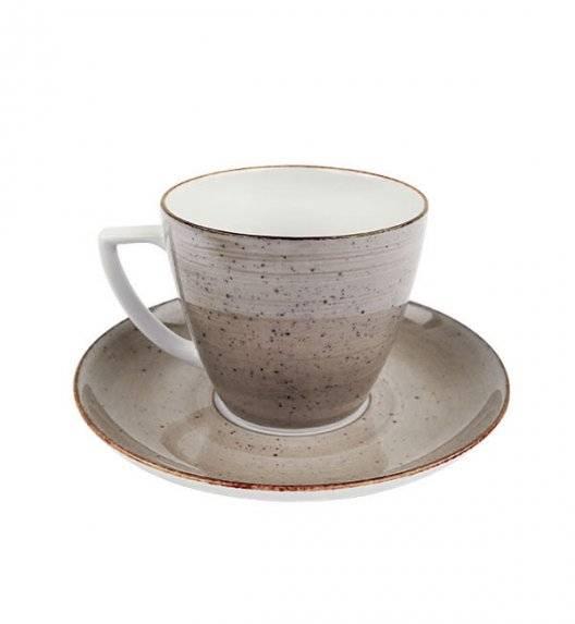 LUBIANA BOSS 6630T Filiżanka 350 ml + spodek / brązowa / porcelana ręcznie malowana