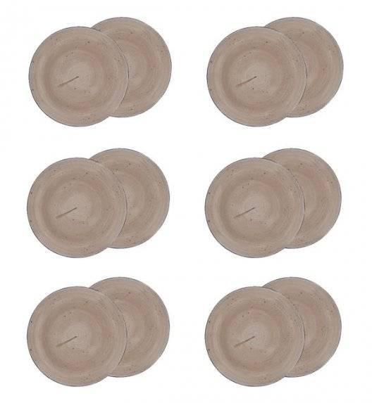 LUBIANA BOSS 6630T Komplet Talerze deserowe 20,5 cm / 12 os / 12 el / brązowy / porcelana ręcznie malowana