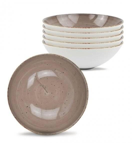 LUBIANA BOSS 6630T Komplet Talerze głębokie 18 cm / 6 os / 6 el / brązowy / porcelana ręcznie malowana