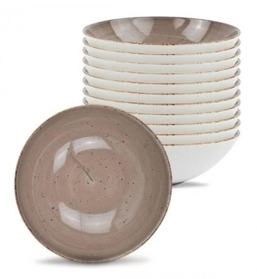 LUBIANA BOSS 6630T Komplet Talerze głębokie 18 cm / 12 os / 12 el / brązowy / porcelana ręcznie malowana