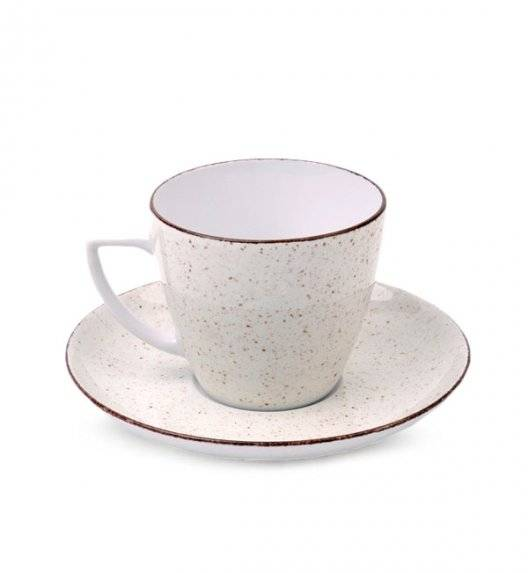 LUBIANA BOSS 6630U Filiżanka 350 ml + spodek / budyniowy / porcelana ręcznie malowana
