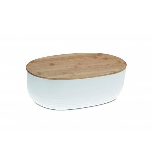 WYPRZEDAŻ! KELA NAMUR Chlebak z pokrywą 37,5 cm biały / tworzywo + drewno bambusowe