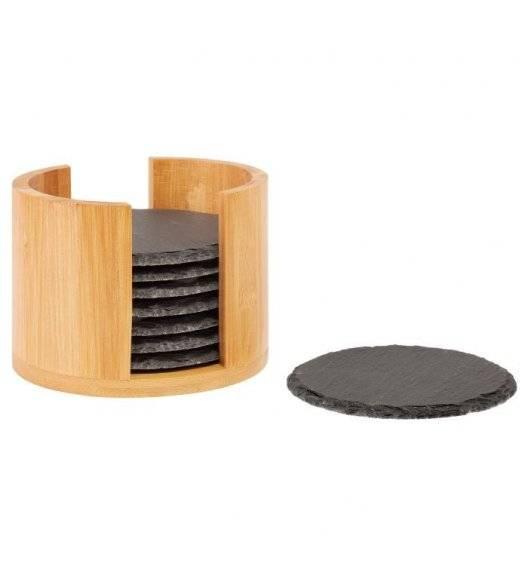 WYPRZEDAŻ! WESTMARK Zestaw podkładek w pudełku / Ø 10 cm / 9 elementów / łupek + drewno