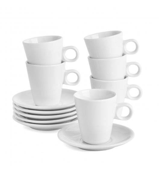 TADAR WHITE Komplet 6 Filiżanek ze spodkami 90 ml / porcelana