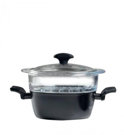 AMBITION CARBON Garnek z sitkiem do gotowania na parze 20 cm / powłoka Qualum Basic Stone / indukcja