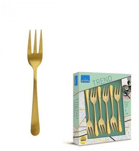 AMEFA AUSTIN VINTAGE Sztućce UE Komplet widelczyki do ciasta 6 el w pudełku / RETRO STYL / złote / wieczysta gwarancja