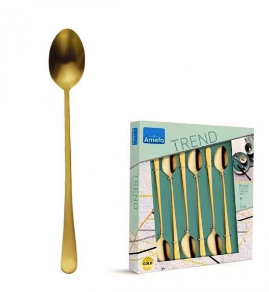 AMEFA AUSTIN VINTAGE Sztućce UE Komplet łyżeczki do kawy latte 6 el w pudełku / RETRO STYL / złote / wieczysta gwarancja